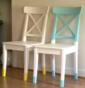 chaises repeintes