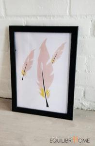 Affiche-deco-plumes-rose-et-or