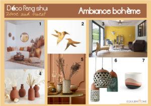 Planche-tendance-boheme-decoration-zone-sud-ouest-feng-shui